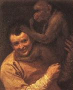 A Man with a Monkey Annibale Carracci