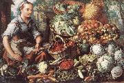 Market Woman with Fruit, Vegetables and Poultry  intre BEUCKELAER, Joachim