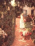 Gathering Flowers in a French Garden Childe Hassam
