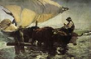 Return from Fishing Towing the Bark Joaquin Sorolla Y Bastida
