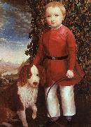 Portrait of a Boy with a Dog Joseph Whiting Stock