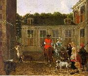 Hunting Party in the Courtyard of a Country House Ludolf de Jongh