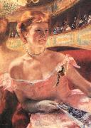 Lydia in a Loge Wearing a Pearl Necklace Mary Cassatt