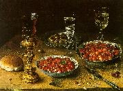 Still Life with Cherries Strawberries in China Bowls Osias Beert