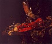 Still Life with Lobster, Drinking Horn and Glasses Willem Kalf