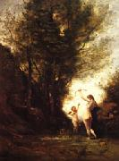 A Nymph Playing with Cupid(Salon of 1857) camille corot
