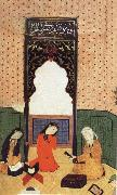 the theophany through Layli sitting framed within the prayer niche Bihzad