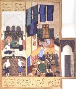 Caliph al-Ma-mun in his bath Bihzad