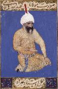 Portrait of the poet Hatifi,Jami s nephew,seen here wearing a shi ite turban Bihzad