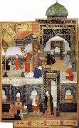 A dervish begs to be admitted in the mosque Bihzad