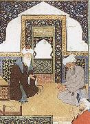 A shaykh in the prayer niche of a mosque Bihzad