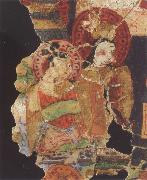 Fragment of a Manichaean manuscript,with the Hindu gods Ganesh,Vishnu Bihzad
