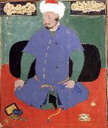 Portrait of the Uzbek emir Shaybani Khan,seen here wearing a Sunni turban Bihzad