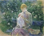 Pasie Sewing in the Garden at Bougival Berthe Morisot