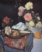 Fruit and Flowers on a Draped Table George Leslie