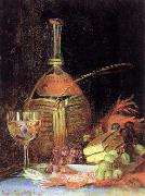 Chianti Wine Bottle,Wine Glass,Grapes and Layer Cake,with Red Scarf Hirst, Claude Raguet