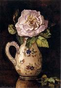 White Rose in a Glazed Ceramic Pitcher with Floral Design Hirst, Claude Raguet