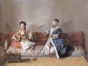 Portrait of M.Levett and of Mlle Glavany Seated on a Sofa Jean-Etienne Liotard