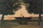 Fountain of the French Academy camille corot