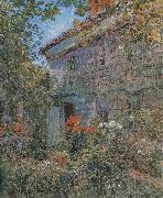 Old House and Garden,East Hampton,Long Island Childe Hassam