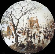 A Winter Scene with Skaters near a Castle Hendrick Avercamp