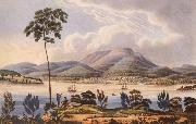 Distant View of Hobart Town,Van Diemen-s Land,from Blufhead Lycett, Joseph