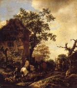 The Outskirts of a Village,with a Horseman OSTADE, Isaack van