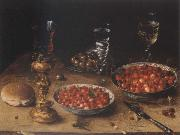 Museum national style life with cherries and strawberries in Chinese china shot els Osias Beert