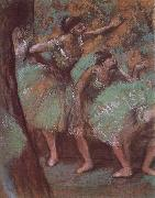 ballerina wear green dress Edgar Degas