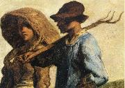 Detail of People go to work Jean Francois Millet