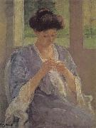 lady is sewing in front of the window Mary Cassatt