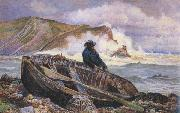 A Fisherman with his Dinghy at Lulworth Cove (mk46) William henry millair