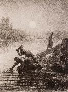 Peasant washing the clothes Jean Francois Millet