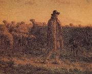 Detail of Shepherden with his sheep Jean Francois Millet
