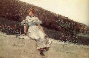 A woman sitting on a park wall Winslow Homer