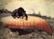 Black Bear and Canoe Winslow Homer