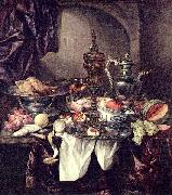 Still life with fruit, roast, silver- and glassware, porcelain and columbine cup on a dark tablecloth with white serviette. Abraham van Beijeren