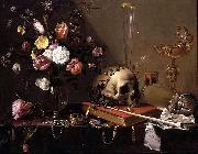 Vanitas - Still Life with Bouquet and Skull Adriaen Van Utrecht