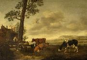 Landscape with cattle Anthonie van Borssom