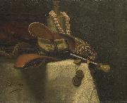 Still life with eastern slippers August Allebe