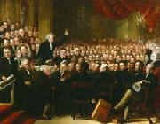 Oil painting of William Smeal addressing the Anti-Slavery Society at their annual convention Benjamin Robert Haydon