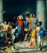 Jesus casting out the money changers at the temple Carl Heinrich Bloch