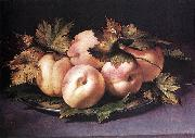 Metal Plate with Peaches and Vine Leaves FIGINO, Giovanni Ambrogio