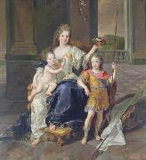 Painting of the Duchess of La Ferte-Senneterre with the future Louis XV on her lap (then styled the Duke of Anjou) and the Duke of Brittany standing n Francois de Troy