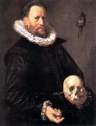 Portrait of a Man Holding a Skull Frans Hals