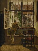 Interior with a boy at a window Henrik Nordenberg