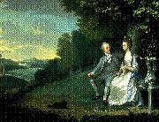 Portrait of Sir Francis and Lady Dashwood at West Wycombe Park James Holland
