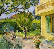 Madame Lebasque Reading in the Garden Lebasque, Henri