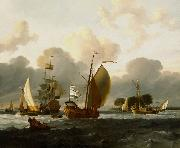A Dutch Yacht Before the Wind in a Harbour Ludolf Bakhuizen