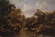 Watermill in the Ardennes with angler Theodore Fourmois
